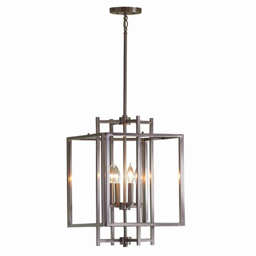 Shop Allen + Roth 14.02-In Brushed Nickel Industrial Single Cage within Allen Roth Lights Fixtures (Image 2 of 15)