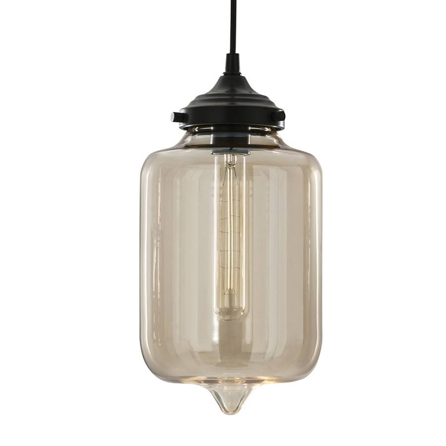 Shop Allen + Roth 7.01-In Aged Bronze Art Deco Mini Tinted Glass with regard to Allen and Roth Pendant Lighting (Image 4 of 15)