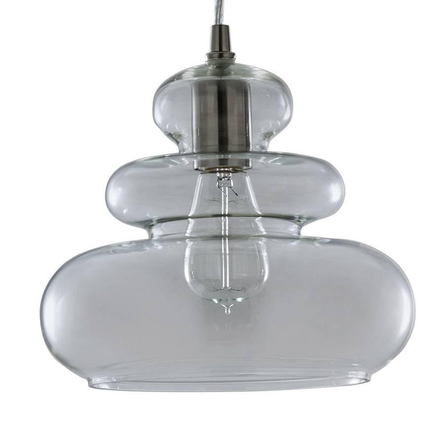 Shop Allen + Roth 9.84-In Brushed Nickel Art Deco Mini Clear Glass regarding Allen Roth Pendant Lights (Image 7 of 15)