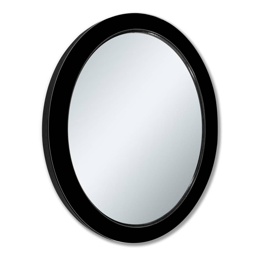 Shop Allen + Roth Black Beveled Oval Wall Mirror At Lowes For Black Oval Mirrors (View 13 of 15)