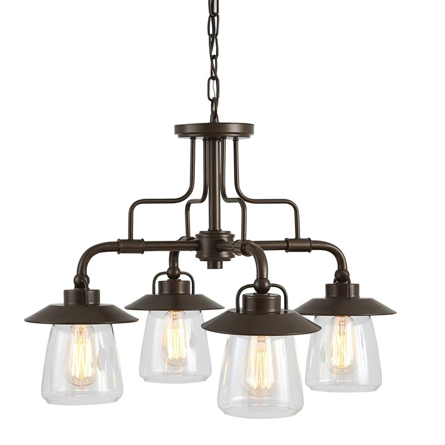 Shop Allen + Roth Bristow 24-In 4-Light Specialty Bronze Rustic inside Lowes Edison Pendant Lights (Image 9 of 15)