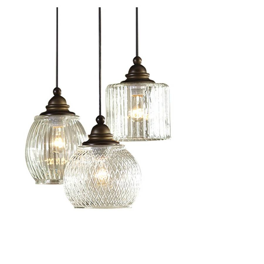 Shop Allen + Roth Cardington 14.67-In Aged Bronze Craftsman Multi regarding Clear Glass Shades For Pendant Lights (Image 12 of 15)