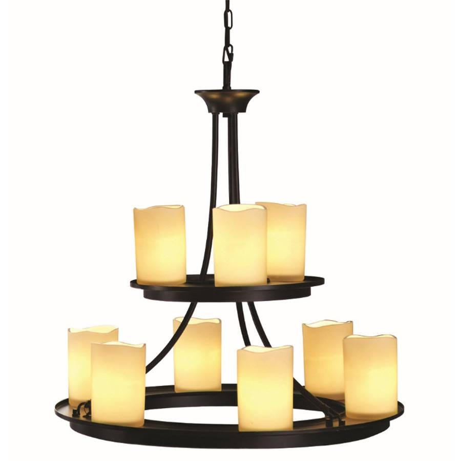Shop Allen + Roth Harpwell 25-In 9-Light Oil Rubbed Bronze with Allen Roth Lights (Image 8 of 15)