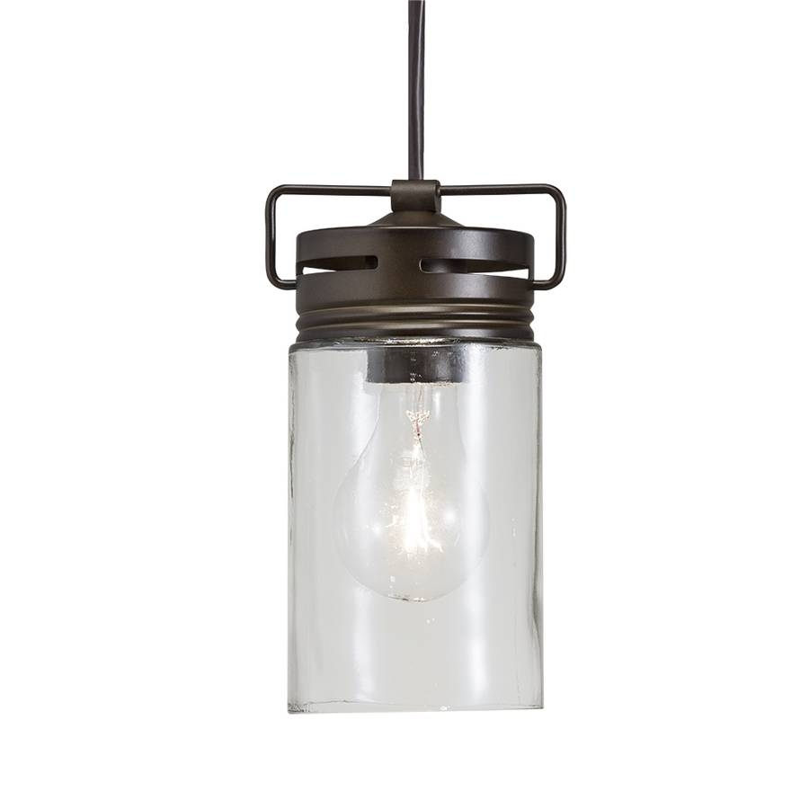 Shop Allen + Roth Vallymede 4.41-In Aged Bronze Barn Mini Clear inside Allen And Roth Pendants (Image 13 of 15)