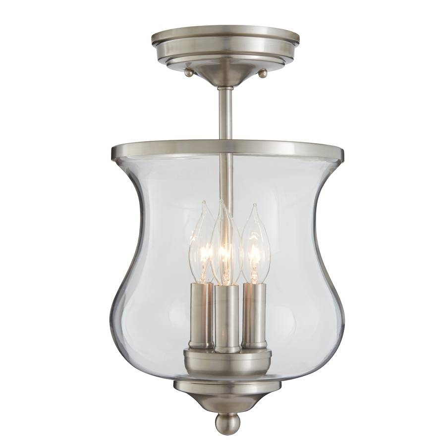 Shop Allen + Roth Yately 8.66-In W Brushed Nickel Clear Glass Semi regarding Allen Roth Lights Fixtures (Image 12 of 15)