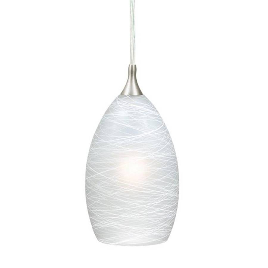Shop Cascadia Lighting Milano 4.5-In Satin Nickel Mini Art Glass within Teardrop Pendant Lights Fixtures (Image 10 of 15)