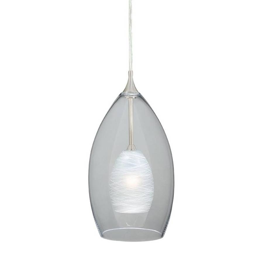 Shop Cascadia Lighting Milano 5-In Satin Nickel Mini Clear Glass throughout Teardrop Pendant Lights Fixtures (Image 11 of 15)