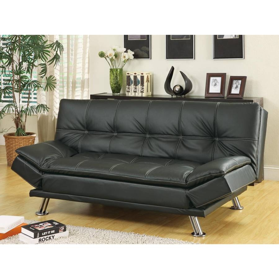 Shop Coaster Fine Furniture Black Vinyl Sofa Bed At Lowes with regard to Coaster Futon Sofa Beds (Image 13 of 15)