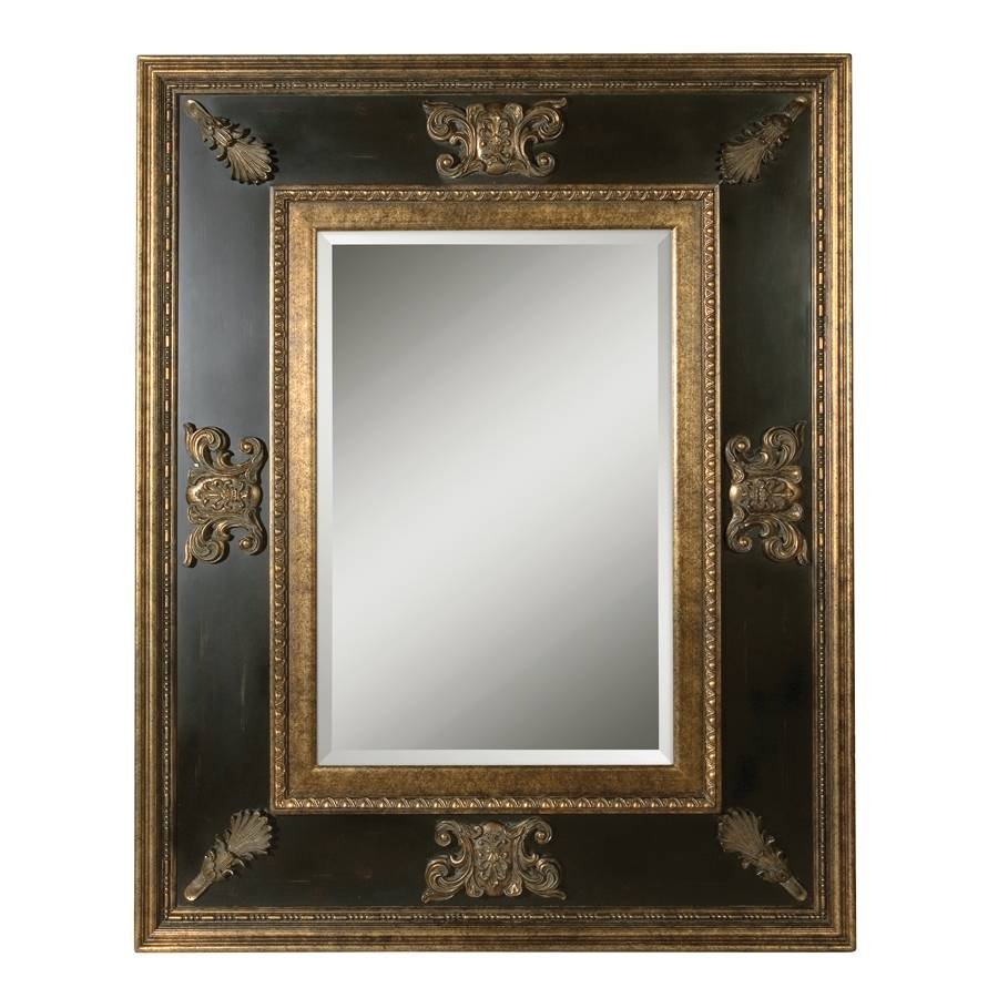 Shop Global Direct Gold Leaf Beveled Wall Mirror At Lowes intended for Black and Gold Wall Mirrors (Image 15 of 15)