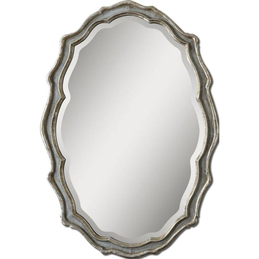 Shop Global Direct Slate Blue Beveled Oval Wall Mirror At Lowes Within French Oval Mirrors (View 14 of 15)