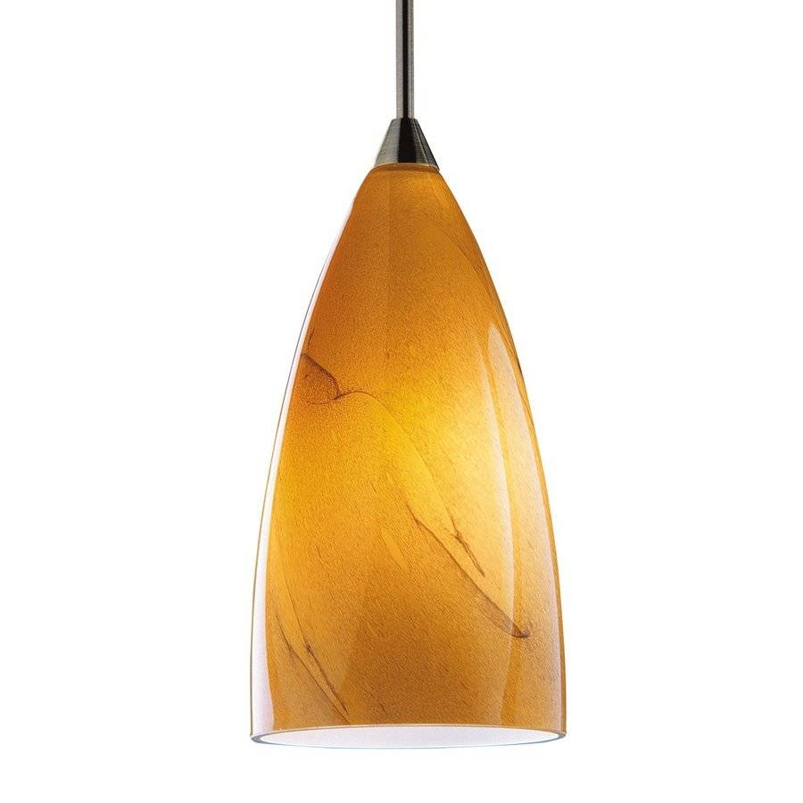 Shop Kendal Lighting 7-In H 4-In W Amber Swirl Art Glass Teardrop pertaining to Art Glass Pendant Lights Shades (Image 11 of 15)