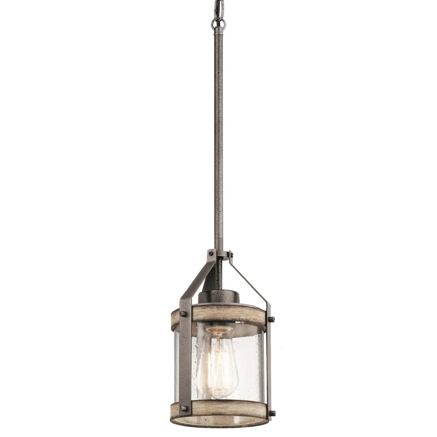 Shop Kichler Barrington 5.5-In Anvil Iron And Driftwood Rustic with regard to Seeded Glass Mini Pendant Lights (Image 12 of 15)