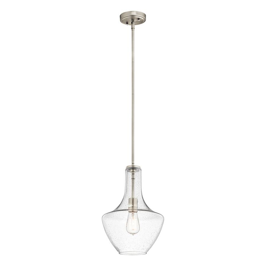 Shop Kichler Everly 10.5-In Brushed Nickel Industrial Single intended for Teardrop Pendant Lights Fixtures (Image 12 of 15)