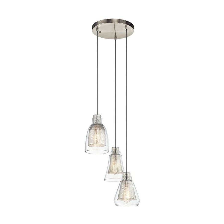 Shop Kichler Evie 14.25-In Brushed Nickel Vintage Hardwired Multi with regard to Mercury Glass Lights Pendants (Image 15 of 15)