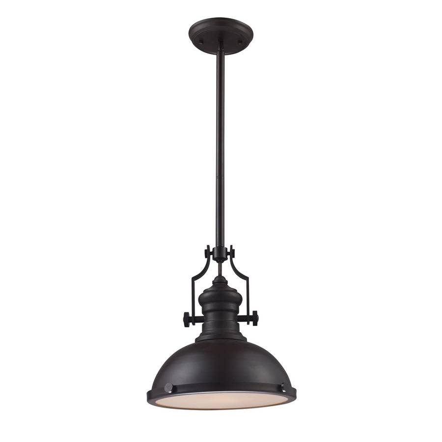 Shop Portfolio 13-In Oiled Bronze Single Pendant At Lowes with regard to Oil Rubbed Bronze Pendant Lights (Image 13 of 15)
