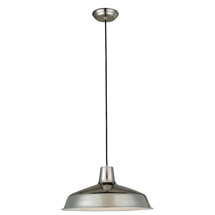 Shop Portfolio 15.98-In Stainless Steel Mini Pendant At Lowes for Stainless Steel Industrial Pendant Lights (Image 13 of 15)