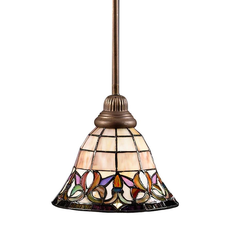Shop Portfolio Flora 8.5-In Mission Bronze Tiffany-Style Mini intended for Stained Glass Pendant Lights (Image 7 of 15)