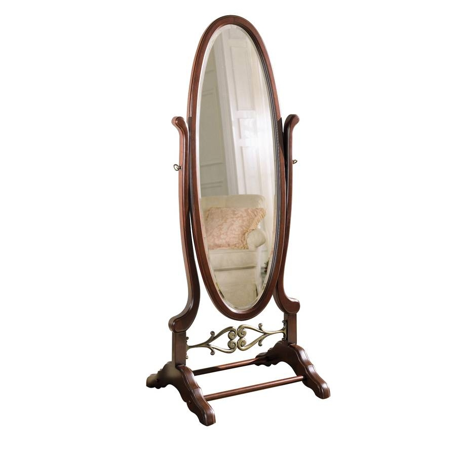 Shop Powell Cherry Framed Oval Floor Mirror At Lowes throughout Long Oval Mirrors (Image 14 of 15)