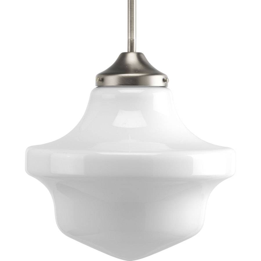 Shop Progress Lighting Schoolhouse 12-In Brushed Nickel Single throughout Schoolhouse Pendant Lights Canada (Image 13 of 15)