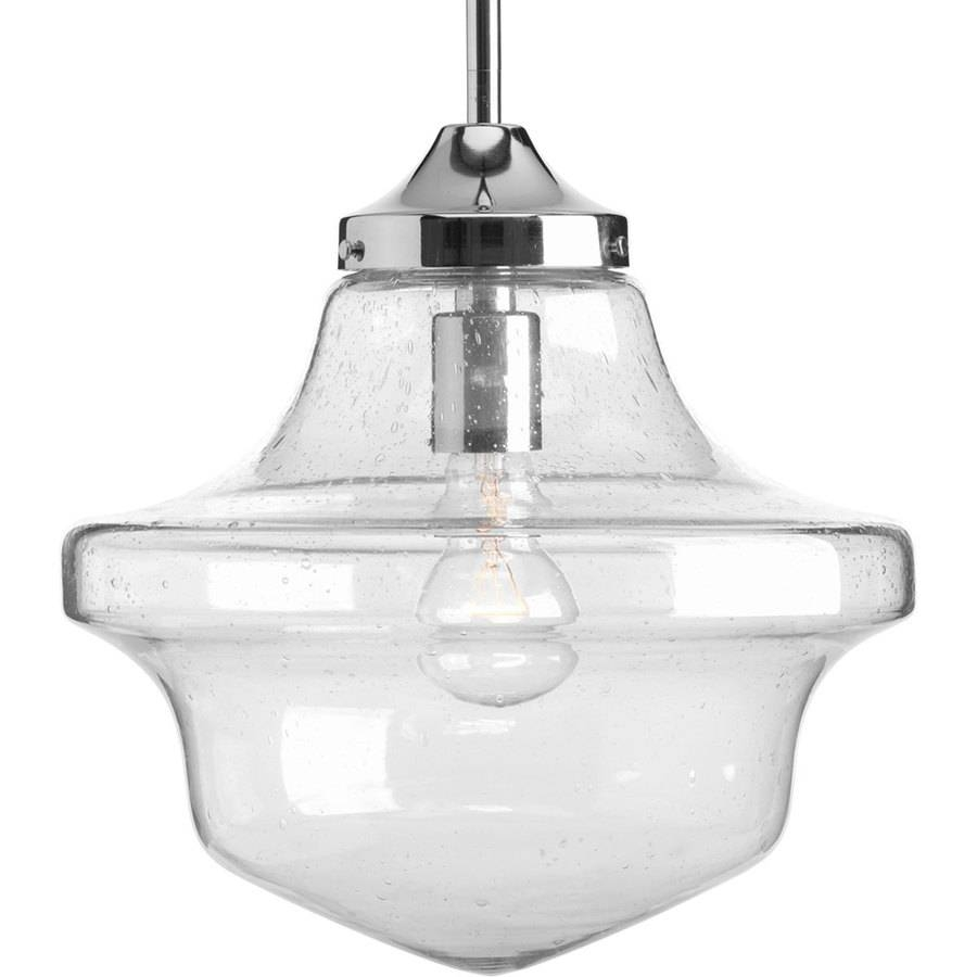 Shop Progress Lighting Schoolhouse 12-In Chrome Single Clear Glass within Schoolhouse Pendant Lights Canada (Image 14 of 15)