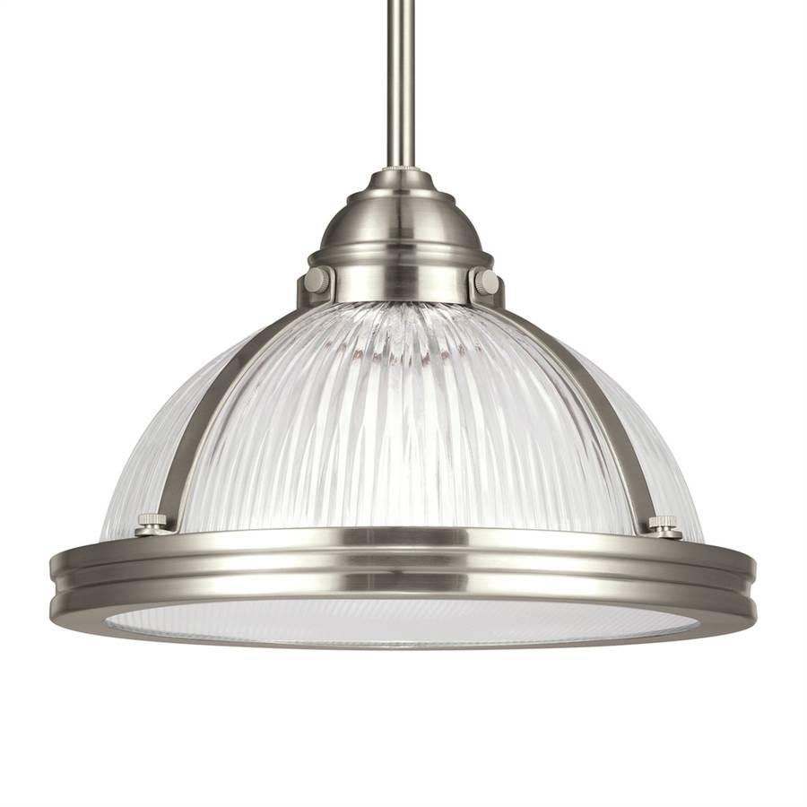 Shop Sea Gull Lighting Pratt Street 11-In Brushed Nickel intended for Warehouse Pendant Light Fixtures (Image 11 of 15)