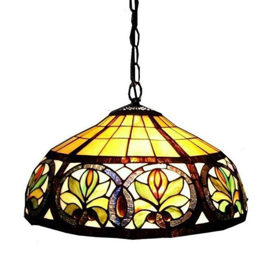 Shop Warehouse Of Tiffany 18-In Bronze Tiffany-Style Single within Stained Glass Lamps Pendant Lights (Image 5 of 15)