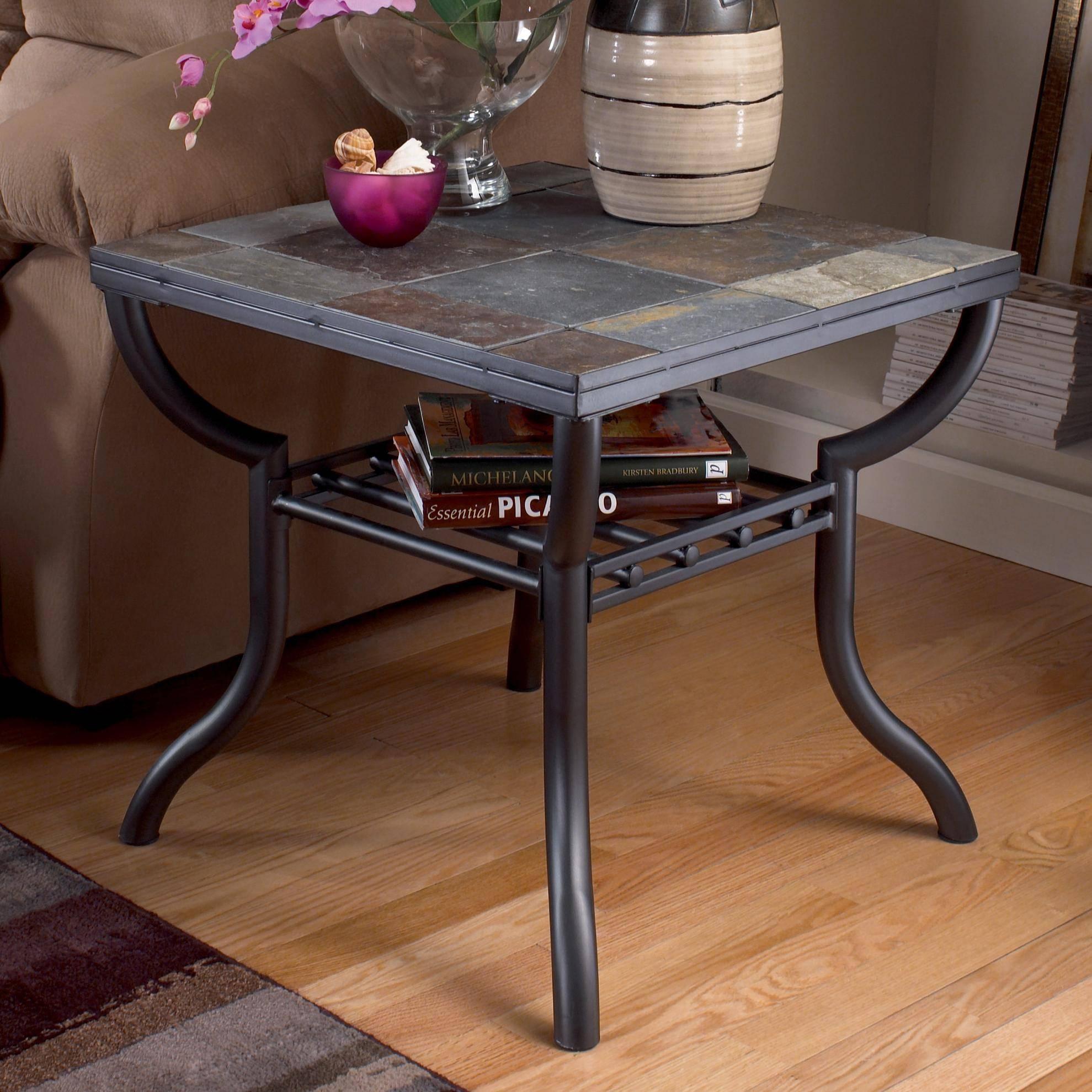 Signature Designashley Antigo Slate Top Square End Table regarding Slate Sofa Tables (Image 8 of 15)