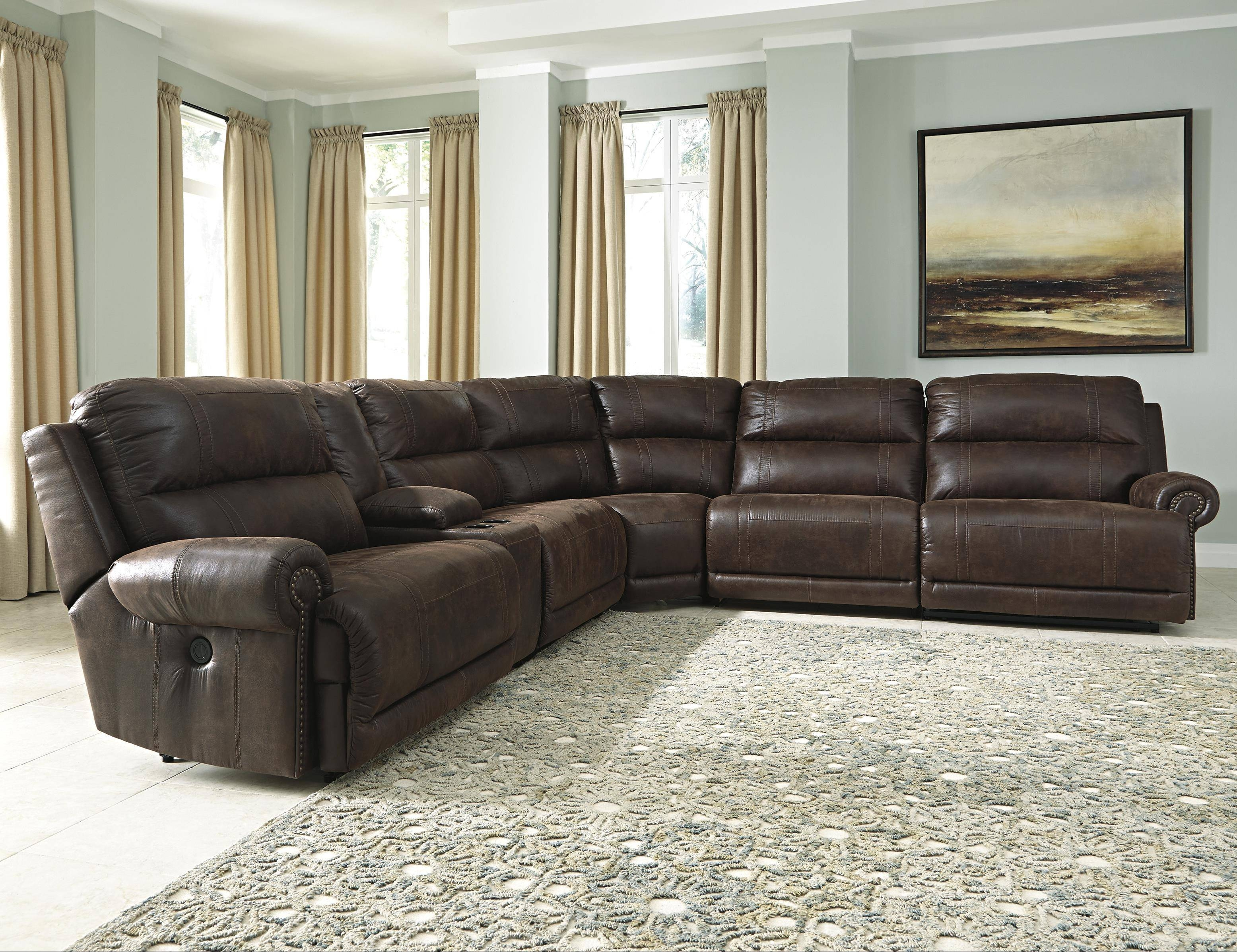 Signature Designashley Luttrell 6-Piece Reclining Sectional pertaining to 6 Piece Sectional Sofas Couches (Image 14 of 15)