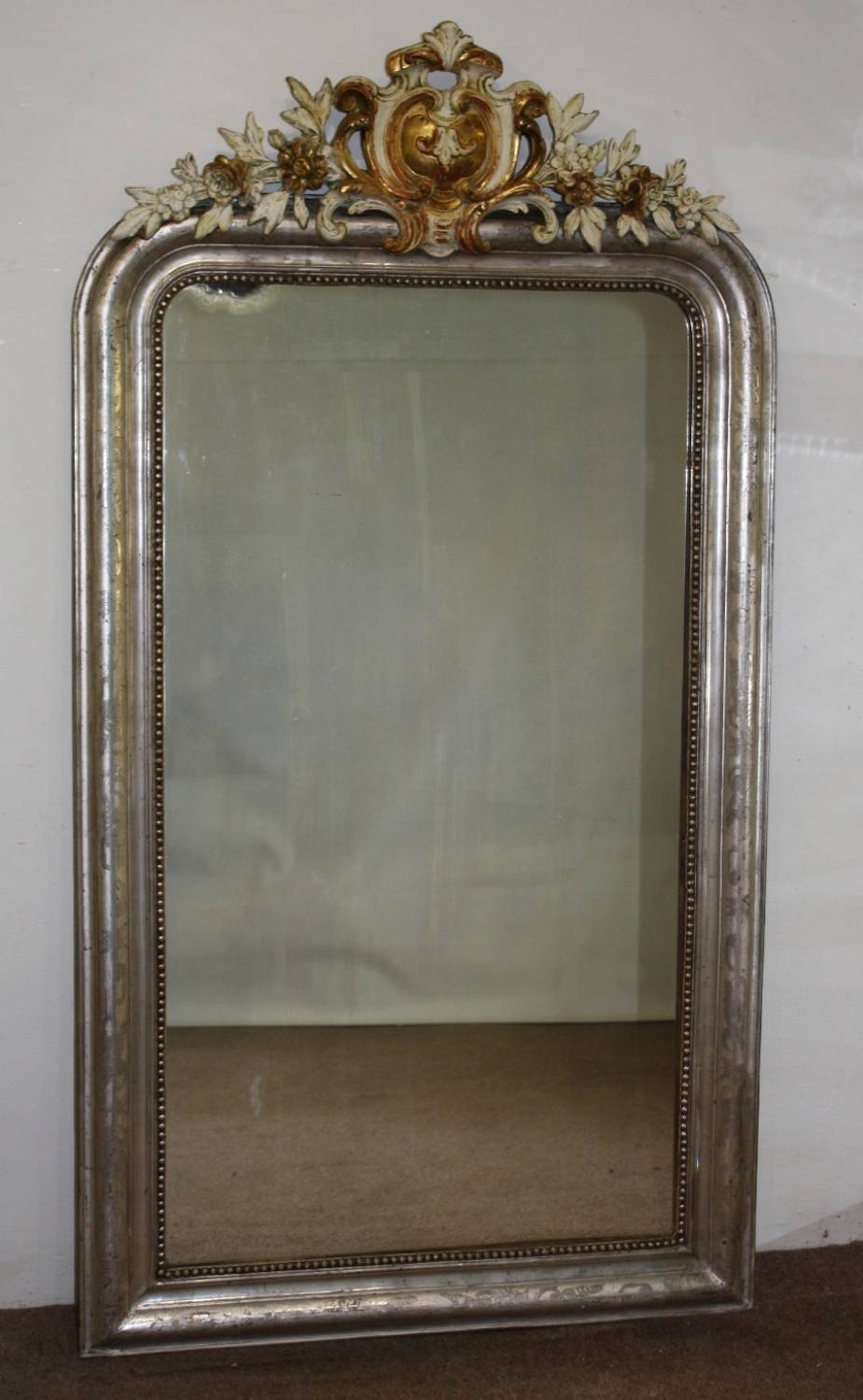 Silver Arched Mirror With Gold And Cream Cart Throughout Full Length Antique Mirrors (View 14 of 15)