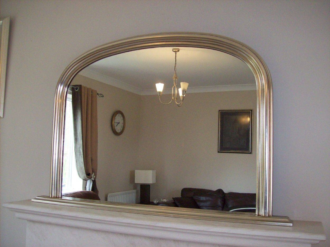 Silver Arched Overmantle Mirror Intended For Antique Overmantle Mirrors (View 9 of 15)
