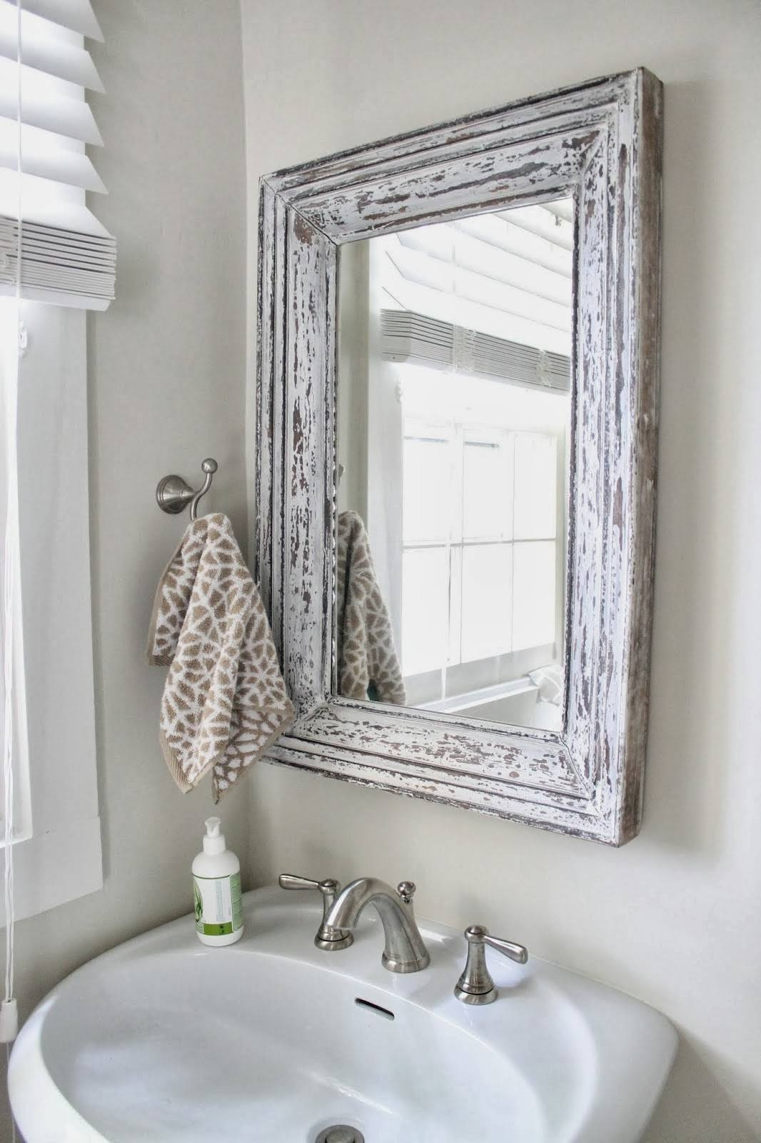 Silver Gilded Or White Shabby Chic Bathroom Hall Wall Small Mirror within White Large Shabby Chic Mirrors (Image 14 of 15)