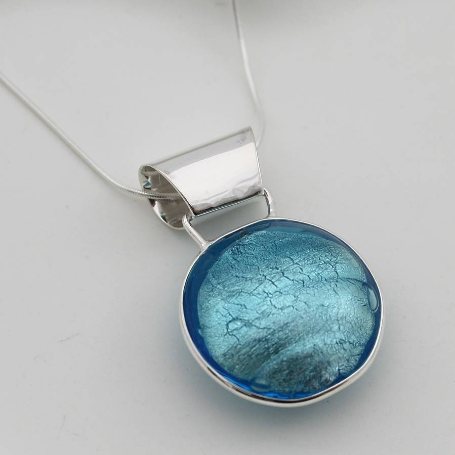 Silver Pendant With Circle Of Murano Glassclaudette Worters pertaining to Venetian Glass Pendants (Image 14 of 15)
