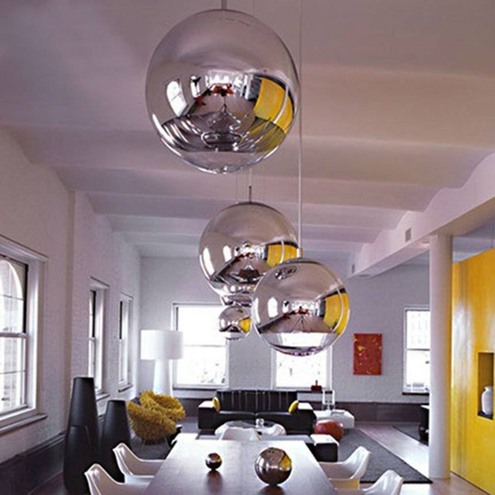 Silver Spheres In A White Kitchen – Interiorscolor For Silver Ball Pendant Lights (View 15 of 15)