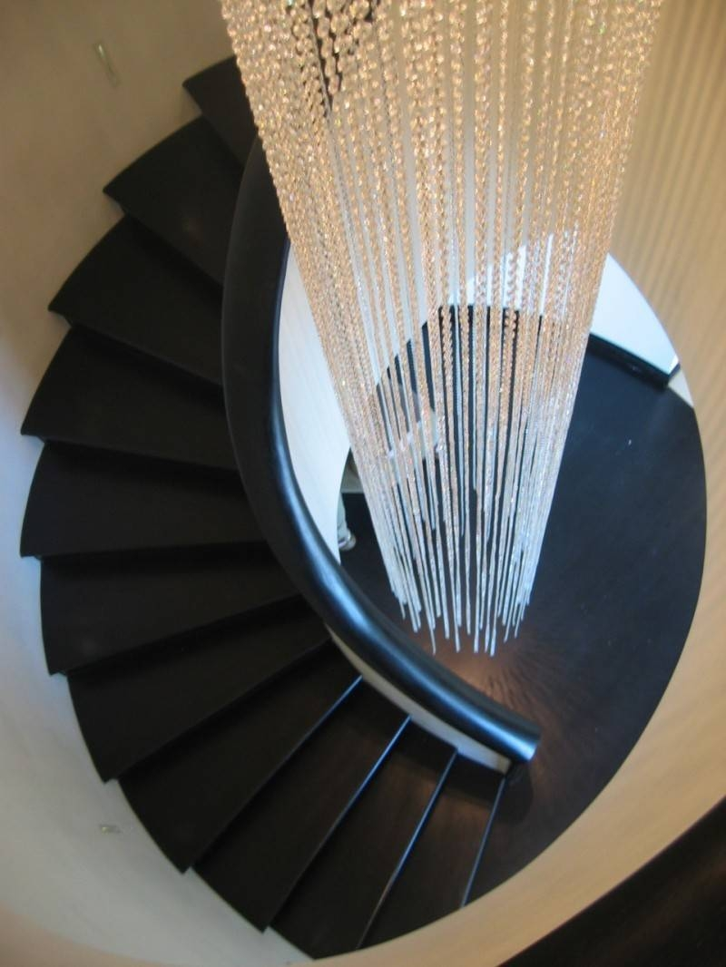 Simple Stairwell Lighting On Ceramic Stairs Traditional House throughout Pendant Lights For Stairwell (Image 10 of 15)