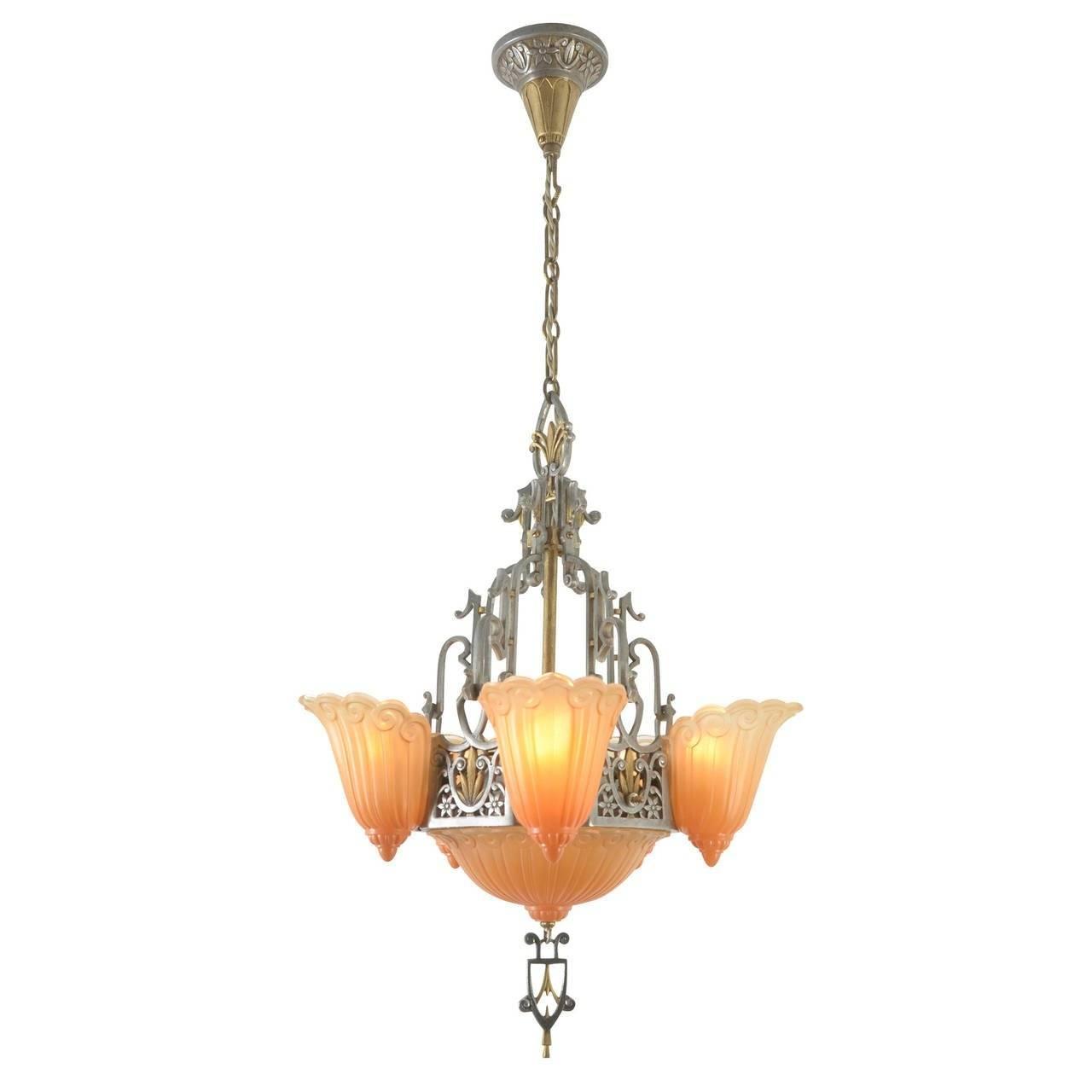 """Six-Light Sears """"fleur-De-Lis"""" Chandelierlincoln, Circa 1934 throughout Fleur De Lis Lights Fixtures (Image 14 of 15)"""