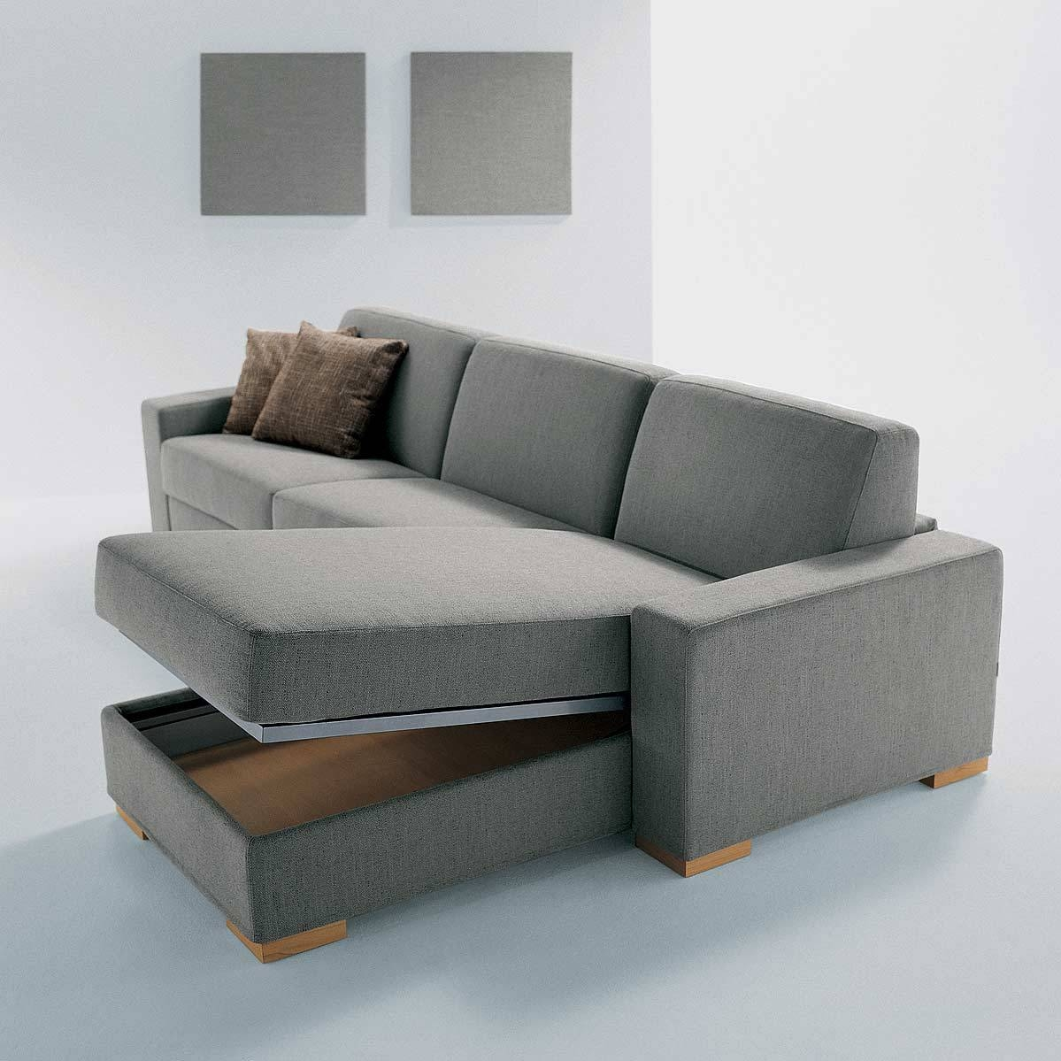 Sky Fabric Corner Sofa Bed With Storage In Truffle | Nrtradiant Regarding Sofa Beds With Storage Underneath (View 3 of 15)