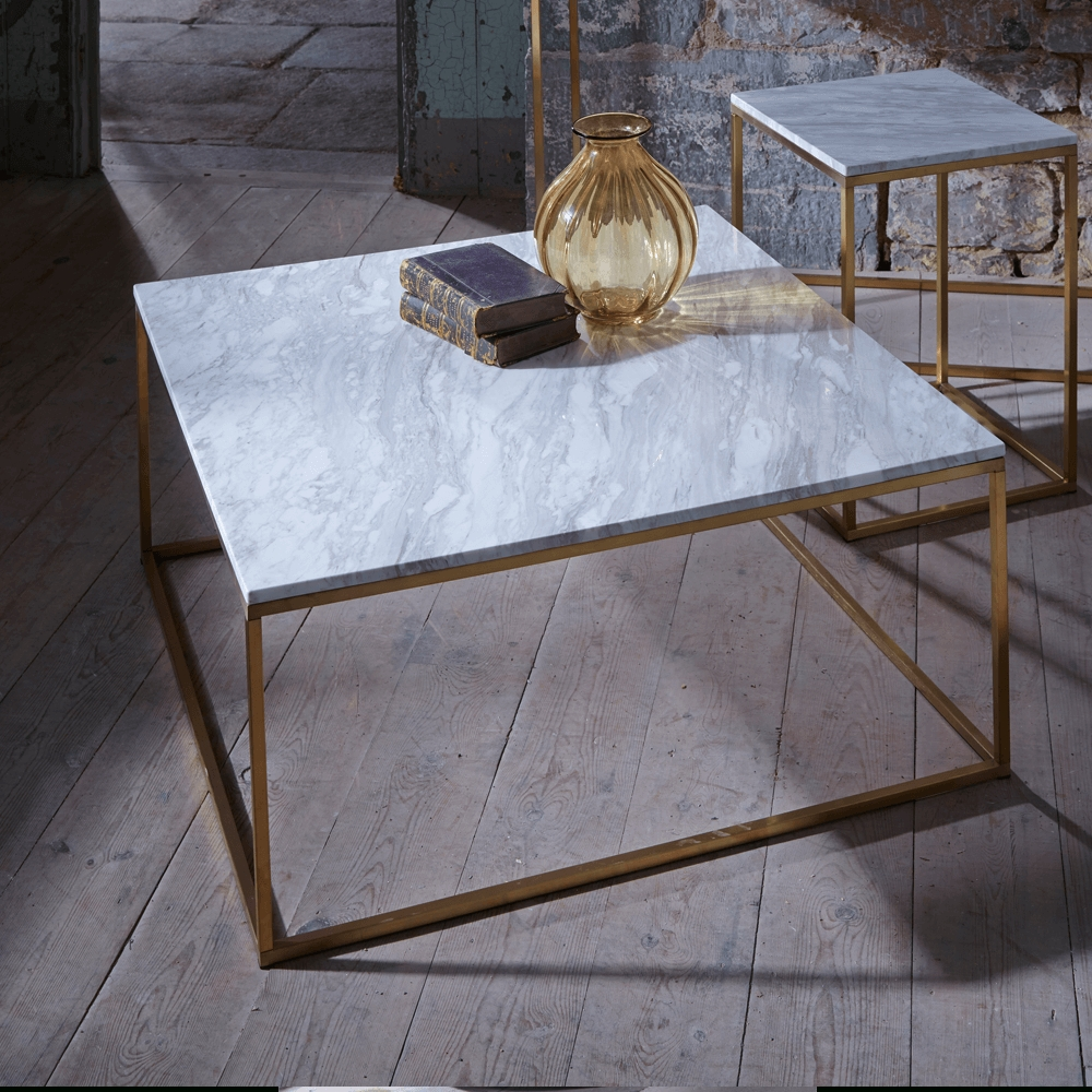 Slimline Retro Square Coffee Tables - Marble, Walnut And Glass regarding Marble and Glass Coffee Table (Image 12 of 15)
