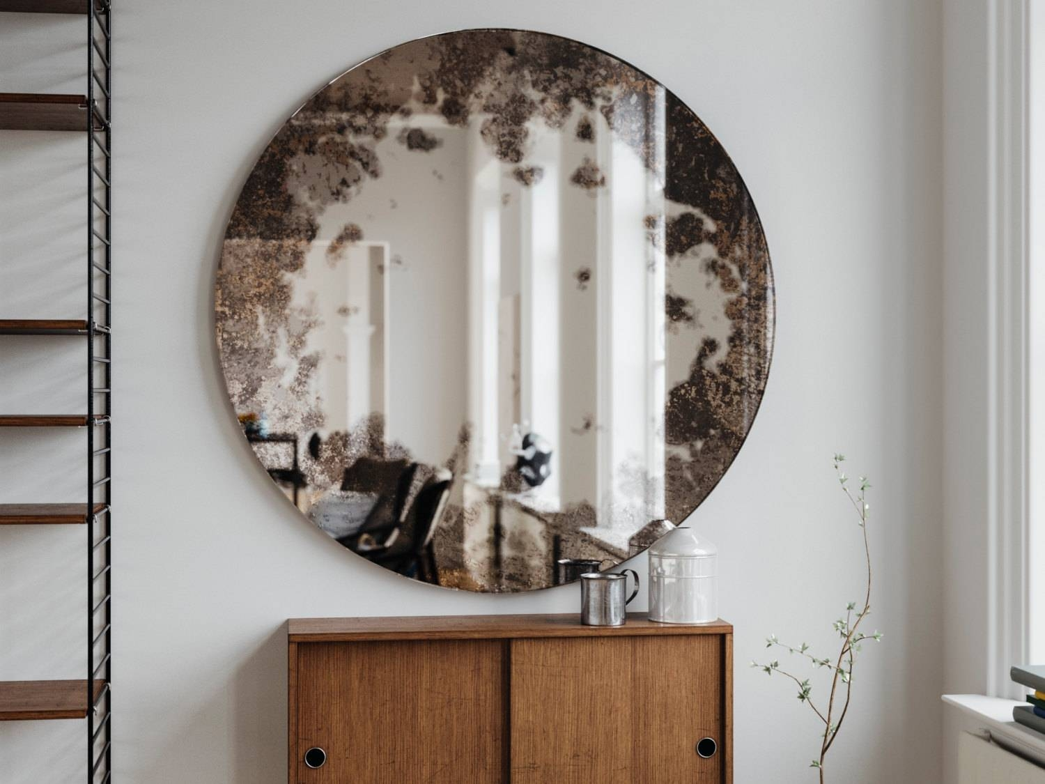 Small Frameless Round Mirror. Small Vintage Inspired Antiqued for Small Antique Wall Mirrors (Image 14 of 15)
