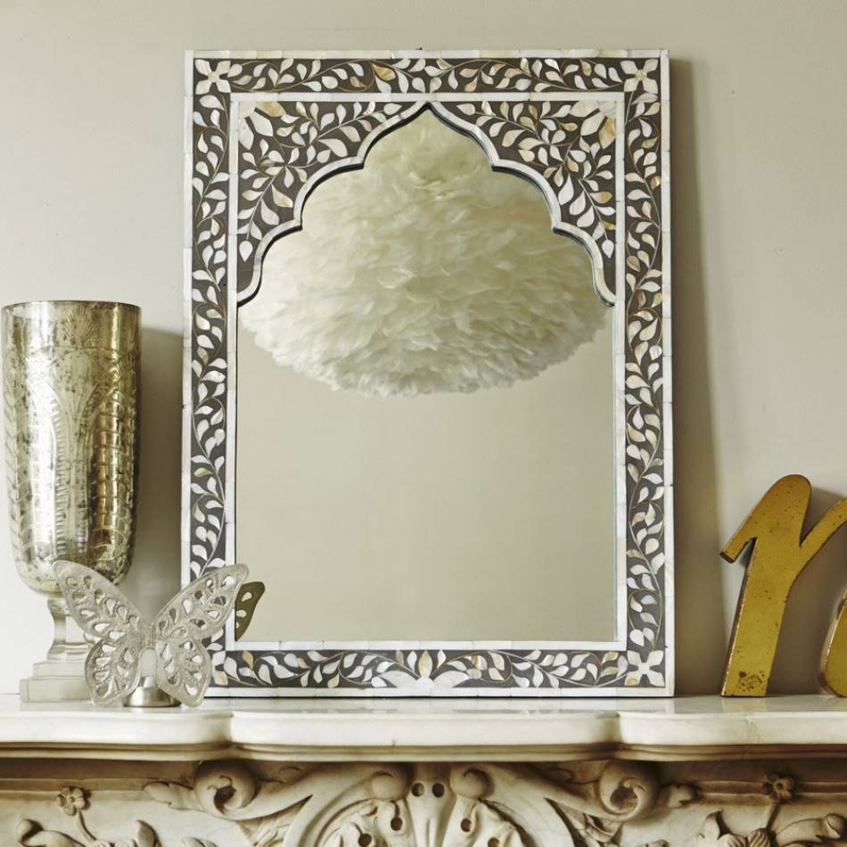 Small Grey Mother Of Pearl Inlay Mirror | Graham & Green for Mother Of Pearl Wall Mirrors (Image 14 of 15)