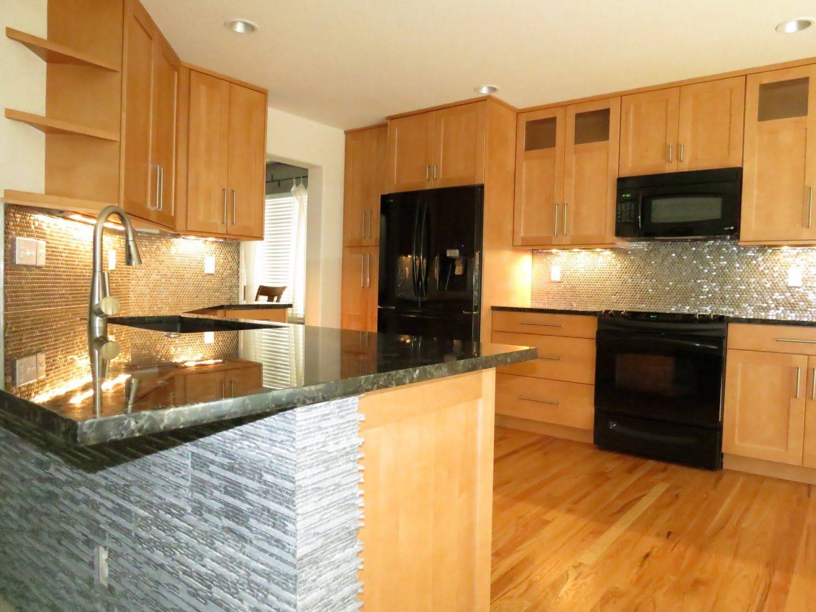 Small Kitchen Design Kitchens Light Wood Cabinets Awesome Black throughout Stainless Steel Kitchen Lights (Image 13 of 15)