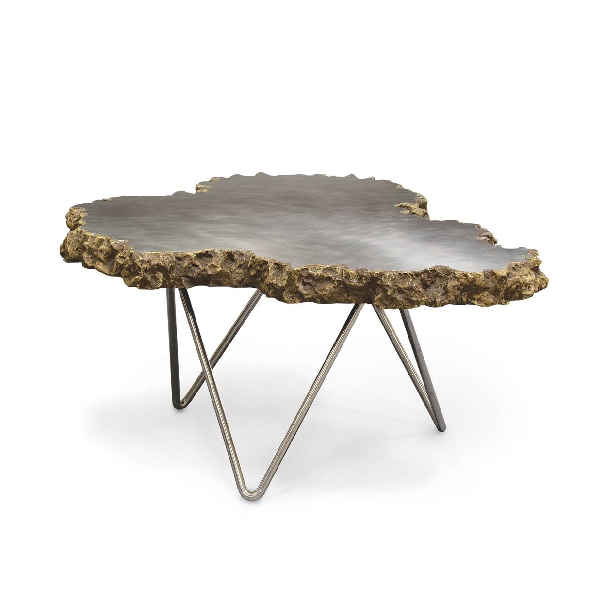 Small Stainless Steel And Lava Stone Coffee Table - Mecox Gardens throughout Stone Coffee Table (Image 10 of 15)
