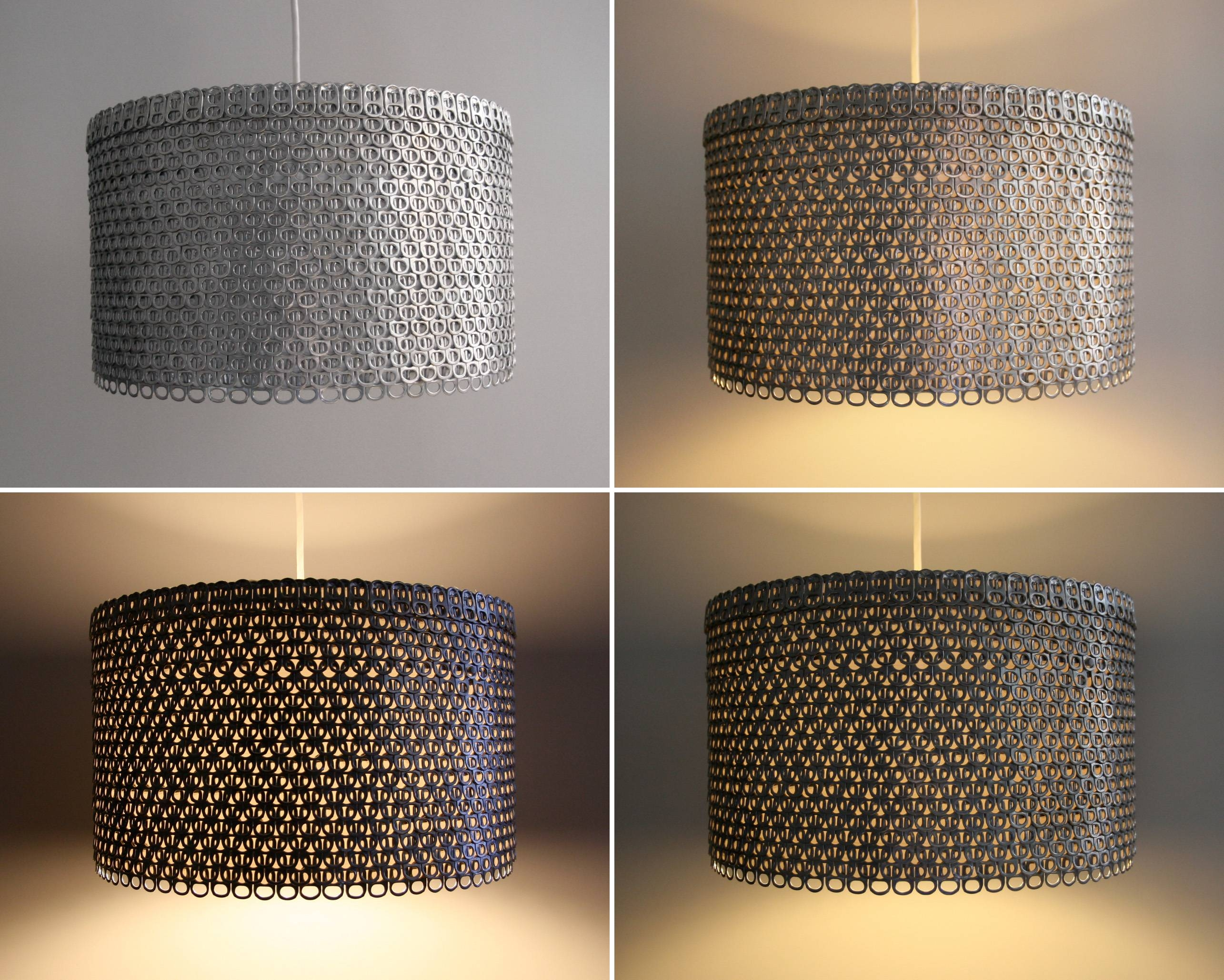 Soda Can Tab Large Drum Shade | The 3 R's Blog within Rectangular Drum Pendant Lights (Image 14 of 15)