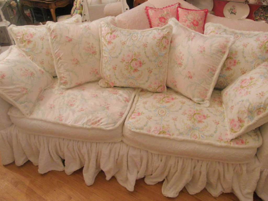 Sofa Floral Wonderful Shabby Chic Slipcovers Tessa Couch Couches Regarding Shabby Chic Sectional Sofas Couches (View 15 of 15)
