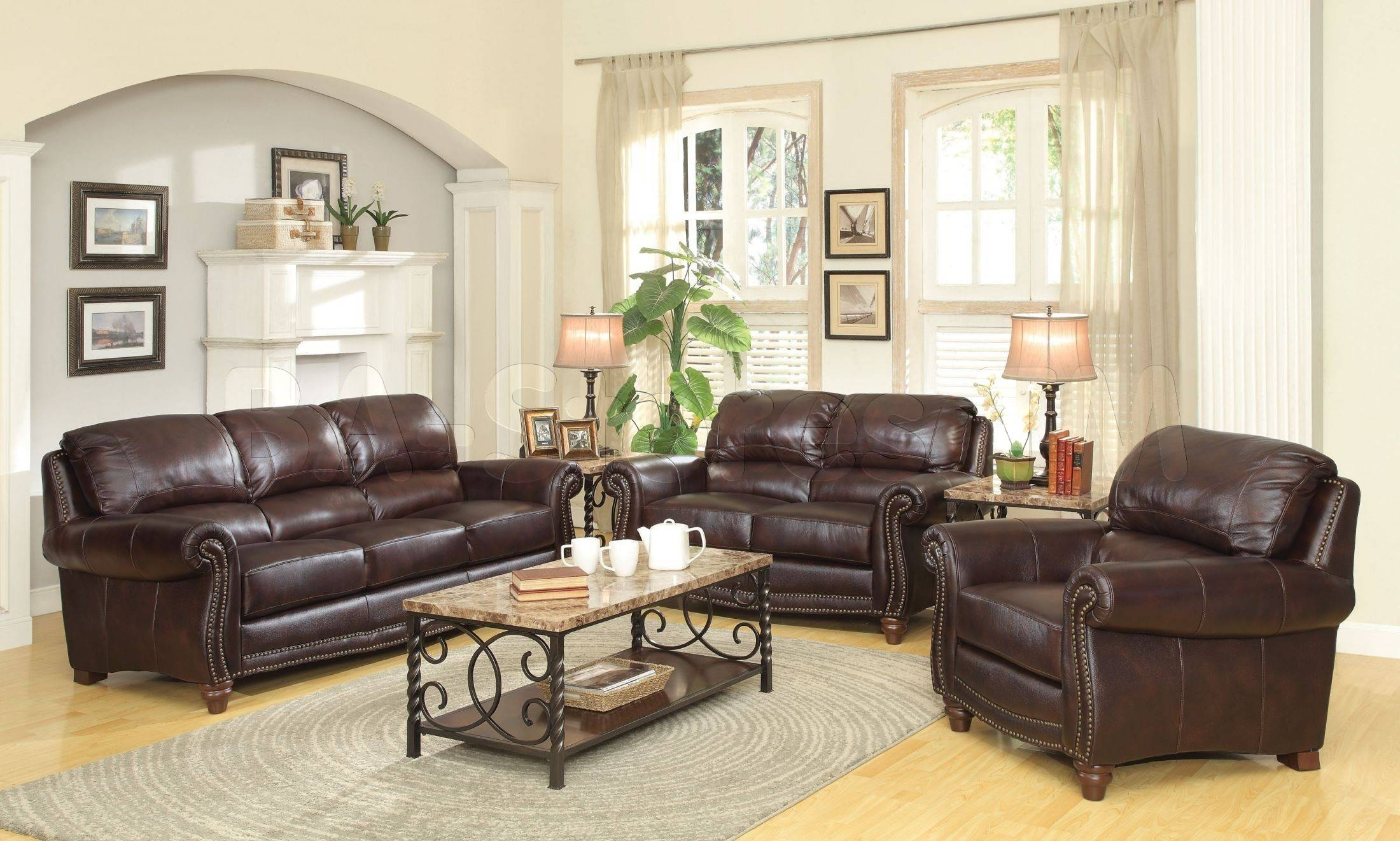Sofa Sets: Lockhart 3 Pc Burgundy Brown Leather Sofa Set Coa With Regard To Burgundy Leather Sofa Sets (View 13 of 15)