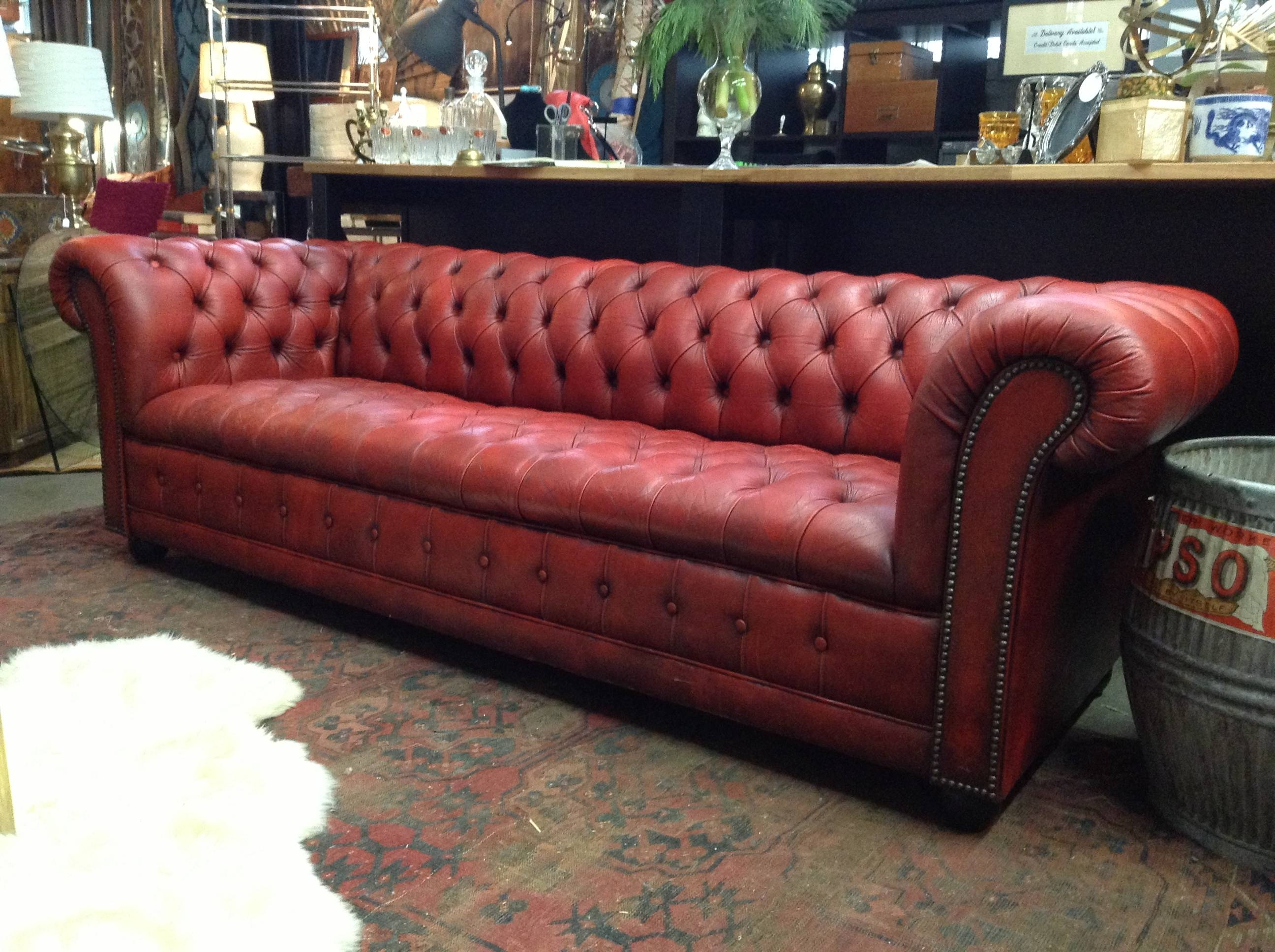 Sofa : Tufted Leather Chesterfield Sofa Home Design Ideas with Red Leather Chesterfield Sofas (Image 14 of 15)