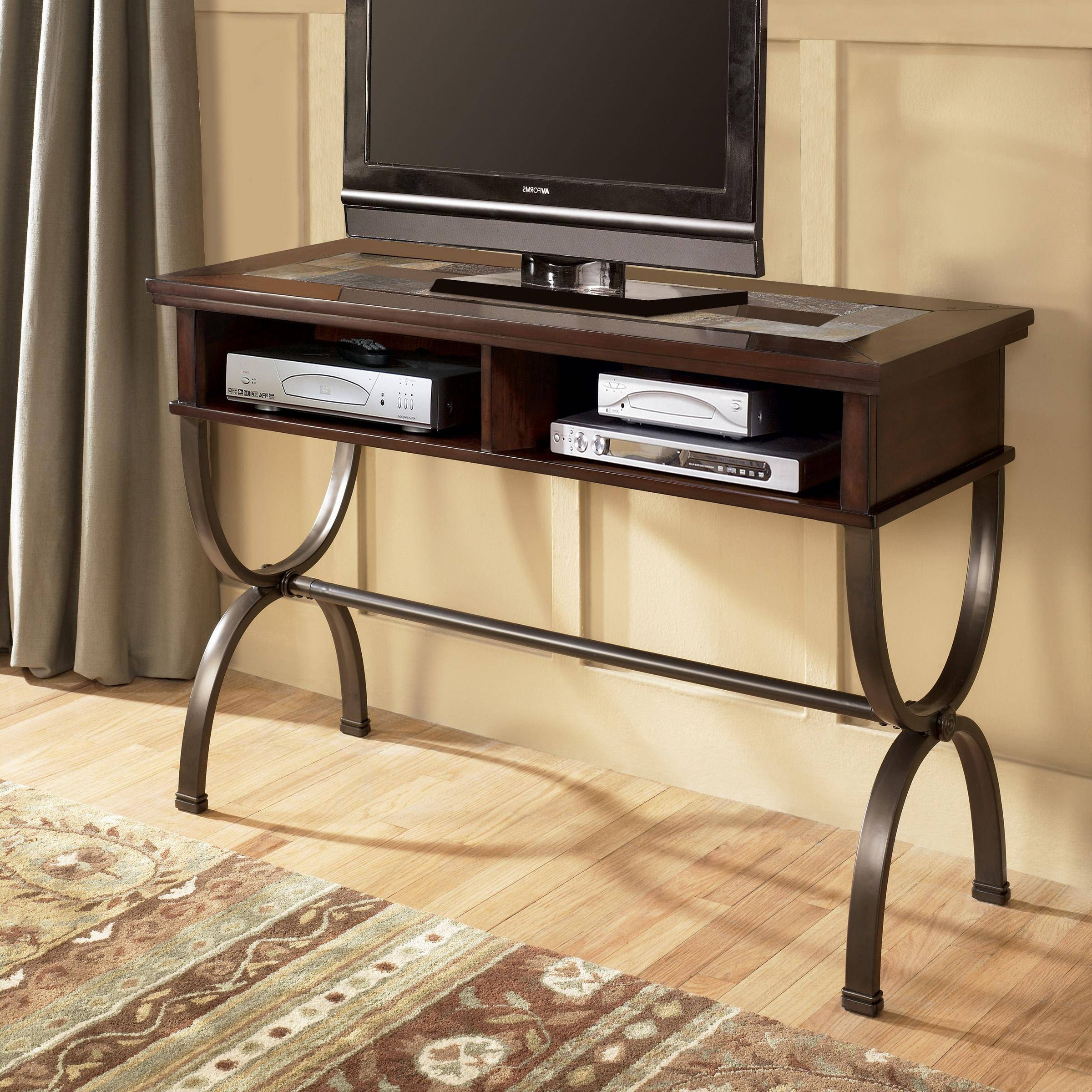Sofa/console Table With Slate Inlay And Metal Basesignature throughout Slate Sofa Tables (Image 13 of 15)