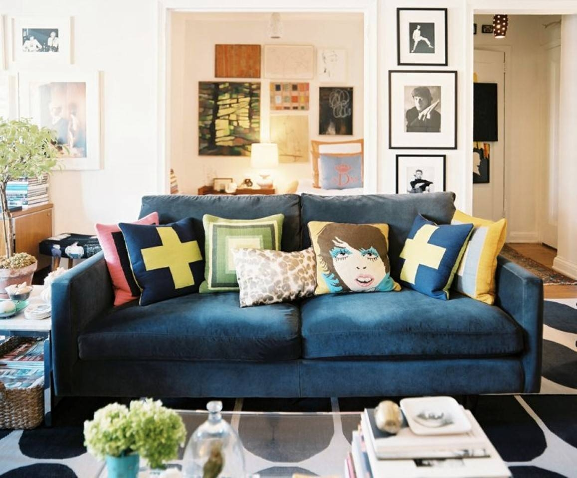 Sofas Center : Archaicawful Blue Sofa Pillows Pictures Ideas for Midnight Blue Sofas (Image 13 of 15)