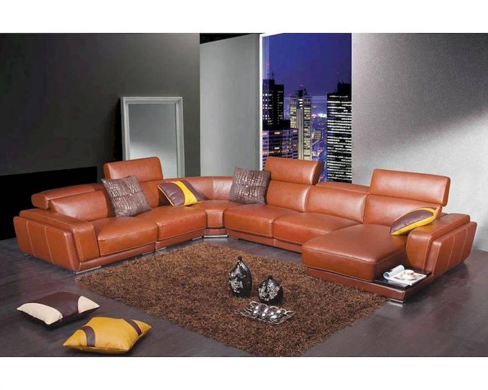 Gentil 2018 Latest Burnt Orange Leather Sectional Sofas