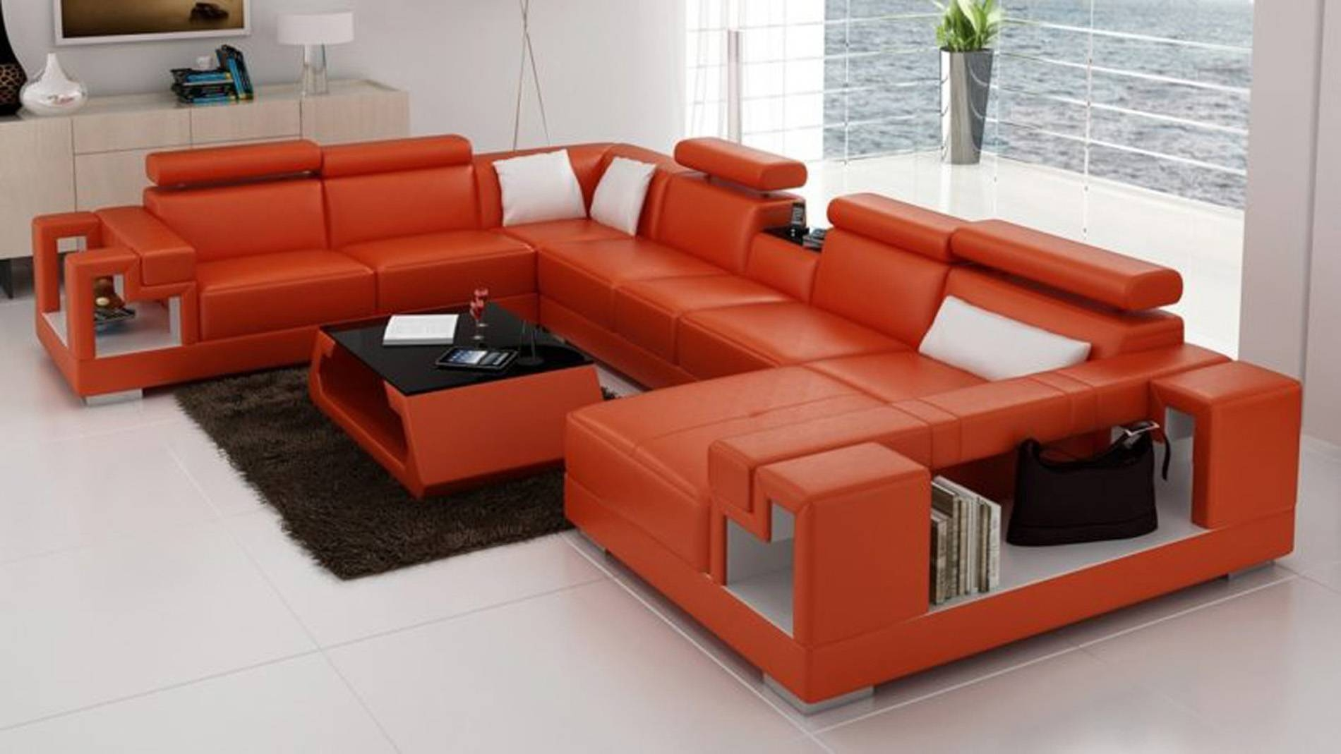 2019 Latest Burnt Orange Leather Sectional Sofas