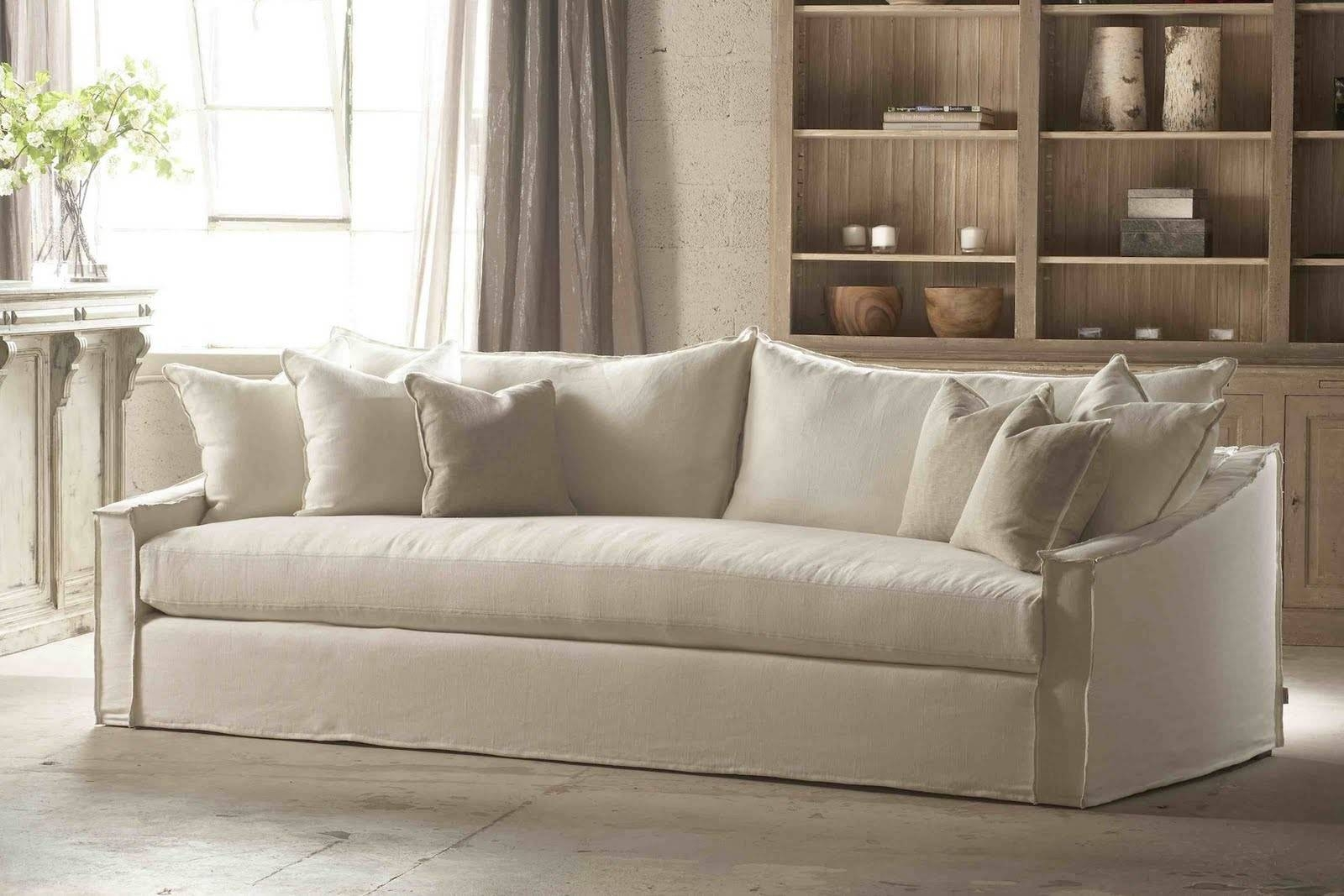 Sofas Center : White Slipcovers For Sofa Namur Herringbone Ivory in Canvas Slipcover Sofas (Image 14 of 15)